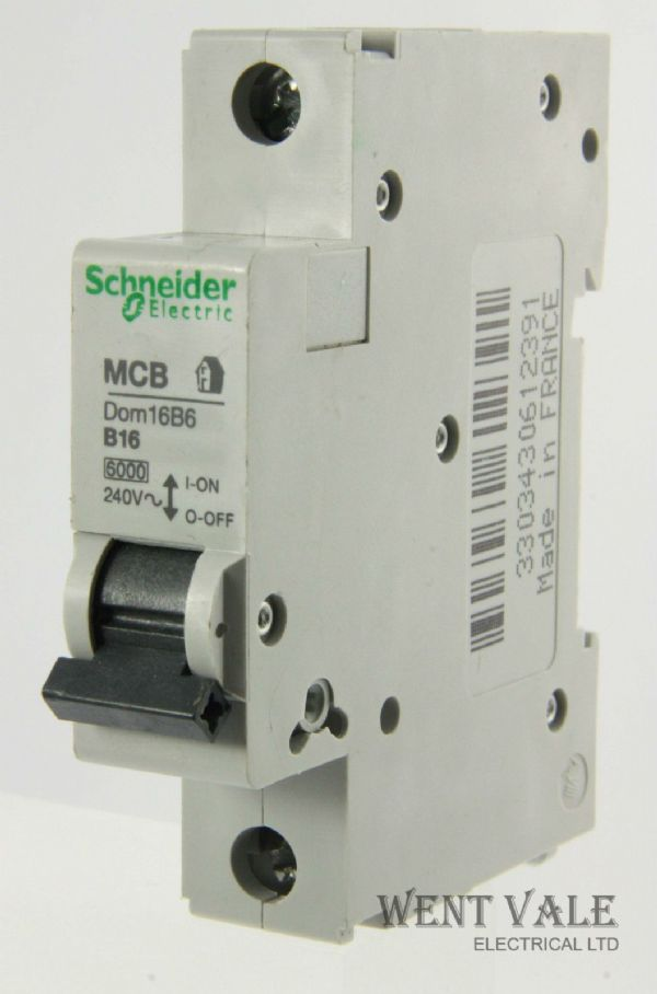 Schneider Domae - DOM16B6 16a Type B Single Pole MCB Used